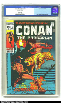 Conan The Barbarian #5 (Marvel, 1971) CGC VF/NM 9.0 Off-white pages. Barry Windsor Smith cover and art. Overstreet 2003...