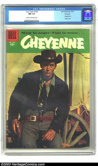 Four Color #734 Cheyenne - File Copy (Dell, 1956) CGC NM 9.4 Cream to off-white pages. Cheyenne #1; Clint Walker photo c...