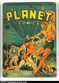 Golden Age (1938-1955):Science Fiction, Planet Comics #12 (Fiction House, 1941) Condition: VG/FN. Coverartist John Celardo was drawing sports cartoons at age ninet...