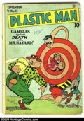 Golden Age (1938-1955):Superhero, Plastic Man #13 (Quality, 1948) Condition: VG-. Cool Golden Age book with a classic cover. Overstreet 2003 VG 4.0 = $110....