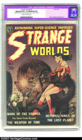 "Golden Age (1938-1955):Science Fiction, Strange Worlds #2 (Avon, 1951) CGC Apparent VG+ 4.5 Moderate (P)Cream to off-white pages. CGC notes: ""Restoration includes:..."