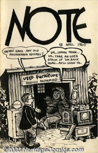"""Robert Crumb - Original Art """"Note"""" for April 18, 1960. One of Crumb's periodic letters to his friend Marty Pah..."""