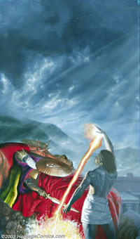 Kevin Eugene Johnson - Original Science Fiction Painting (1985). A warrior draws power from the resting place of a (dead...