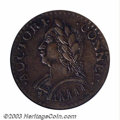 Colonials: , 1787 COPPER Connecticut Copper, Laughing Head AU50 PCGS. ...