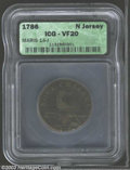 1786 COPPER New Jersey Copper, Narrow Shield VF20 ICG. Maris 14-J, R.1. Straight plow beam. The purple-brown fields are...