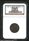 Colonials: , 1783 SHLNG Chalmers Shilling, Short Worm Fine 12 NGC. ...