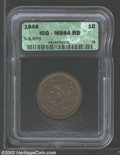 1846 1C Small Date MS64 Red and Brown ICG. N-6, R.1. The base of the 6 is repunched south. Although not boldly struck, t...