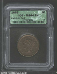 1855 1C Knob on Ear MS64 Brown ICG. N-9, R.1. An early die state that has a series of cracks between the ear and TY in L...