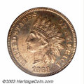 Proof Indian Cents: , 1866 1C PR65 Red PCGS. Struck from heavily polished dies, ...
