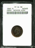 Proof Indian Cents: , 1868 1C --Rotated Dies--PR64 Red and Brown ANACS. Radiant ...