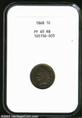 Proof Indian Cents: , 1868 1C PR65 Red and Brown NGC. Flashy crimson and yellow-...