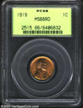 Lincoln Cents: , 1919 1C MS66 Red PCGS. Well struck and fully red, with ...