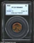 1925 1C MS66 Red PCGS. Well made with bright orange-red and green colors, the reverse exhibits a few wispy, superficial...