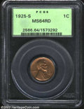 1925-S 1C MS64 Red PCGS. Sharply struck and expertly preserved, the obverse is a rather subdued red-brown shade, while t...