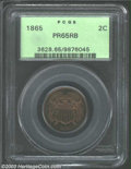 Proof Two Cent Pieces: , 1865 2C PR65 Red and Brown PCGS. A lovely amber-tinged ...