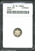 1859 3CS PR64 Cameo ANACS. The margins have freckles of golden-brown and rose-violet patina. Well struck with obvious co...