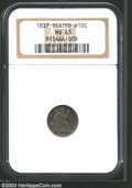 Seated Half Dimes: , 1837 H10C Small Date (Flat Top 1) MS63 NGC. Lovely olive-...