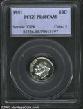 Proof Roosevelt Dimes: , 1951 10C PR68 Cameo PCGS. Faint die polish lines (as made)...