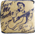 """Music Memorabilia:Memorabilia, Elvis Presley Vintage Pillow (c. 1956). A rare vintage 10"""" x 10"""" pillow with an image of Presley screened onto one side. In ..."""