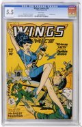 Golden Age (1938-1955):Adventure, Wings Comics #93 (Fiction House, 1948) CGC FN- 5.5 White pages....
