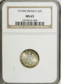 Mexico: , Mexico: Estados Unidos silver 20 Centavos 1919-M, MS65 NGC, blueand gold iridescent toning, beautiful!...