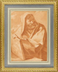 Fine Art - Painting, European:Antique  (Pre 1900), An Italian 19th Century Red Chalk Drawing. Unknown artist, Italian.19th Century. Red chalk on paper. 17.45 inches x 12.5 in...