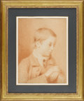 Fine Art - Painting, European:Antique  (Pre 1900), A Red Chalk Portrait of a Boy. Unknown. Continental, 19th Century.Red chalk on paper. 20 inches x 15 inches (unframed). ...