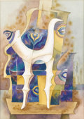 Texas:Early Texas Art - Modernists, BROR UTTER (1913-1993). El Dio del Pavo Real. Watercolor andink. 12in. x 9in.. Unsigned. Abstract peacock feathers ad...