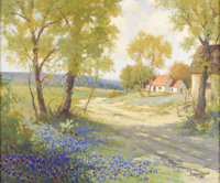 ROBERT WOOD (1889-1979) Untitled Bluebonnets, Cabin, and Barn, 1930s to early 1940s Oil on canvas 20in. x 24in. Signed l...