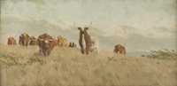 FRANK REAUGH (1860-1945) Breezy Morning, 1896 Oil on canvas 12in. x 24in. Signed and dated lower right  This paint