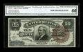 Large Size:Silver Certificates, Fr. 296 $10 1886 Silver Certificate CGA Gem Uncirculated 66.Broadly margined and beautifully bright, this is new to the cen...