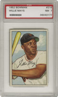 Baseball Cards:Singles (1950-1959), 1952 Bowman Willie Mays #218 PSA NM 7. The tremendously skilledportrait artists employed by Bowman show their best work wi...