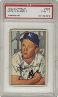 Baseball Cards:Singles (1950-1959), 1952 Bowman Mickey Mantle #101 PSA EX-MT 6. While the Toppsspecimen from this year and the earlier Bowman might get more a...