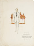 "Movie/TV Memorabilia:Original Art, Marlon Brando Costume Design Sketch from ""The Ugly American."" Acostume sketch by Rosemary Odell for the 1963 drama. The not..."