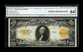 Large Size:Gold Certificates, Fr. 1187 $20 1922 Gold Certificate CGA Choice Uncirculated 64. Embossing of the golden-orange overprint is noted on the back...