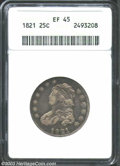 Bust Quarters: , 1821 25C XF45 ANACS. B-3, R.2. The reverse die on this ...