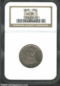 Seated Quarters: , 1848 25C AU58 NGC. Dove-gray toning dominates each side ...