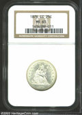 Seated Quarters: , 1876-CC 25C MS63 NGC. Snow-white, satiny luster and a ...