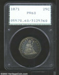 Proof Seated Quarters: , 1871 25C PR60 PCGS. Deeply mirrored and attractively ...