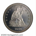 Proof Seated Quarters: , 1886 25C PR66 Cameo NGC. The 1886 has the lowest total ...