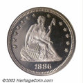 Proof Seated Quarters: , 1886 25C PR67 Cameo * NGC. Basically untoned with intense ...