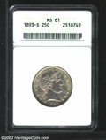 1893-S 25C MS61 ANACS. A well struck early S-mint Barber Quarter exhibiting slightly subdued luster. Some light toning h...