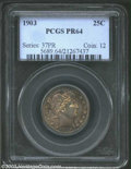 Proof Barber Quarters: , 1903 25C PR64 PCGS. The bright and flashy proof fields ...