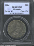 Bust Half Dollars: , 1824 50C Overdate MS63 PCGS. O-103, R.1. The 4 in the ...