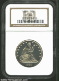 1880 50C PR63 NGC. An appealing specimen, with highly reflective sea-green fields, and frosty golden-yellow devices. The...