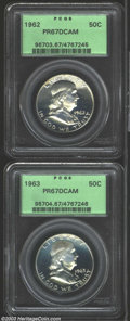 Proof Franklin Half Dollars: , 1962 50C PR67 Deep Cameo PCGS, the devices have a hint of ... (2coins)