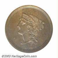 1854 P1C One Cent, Judd-161 Original, Pollock-187, R.4, PR64 Brown ANACS. The design is similar to that on production la...