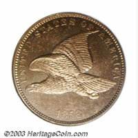 1858 P1C Flying Eagle Cent, Judd-192, Pollock-235, R.5, PR65 NGC. A Flying Eagle pattern with the adopted design on the...