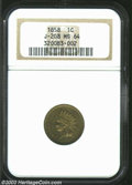 Patterns: , 1858 P1C Indian Cent, Judd-208, Pollock-253, R.7, MS64 NGC.