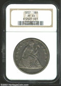 Seated Dollars: , 1857 $1 XF45 NGC. Creamy slate-gray patina enriches the ...